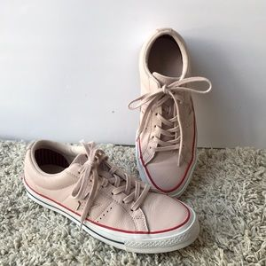 One star Converse baby pink and Red soles, unisex